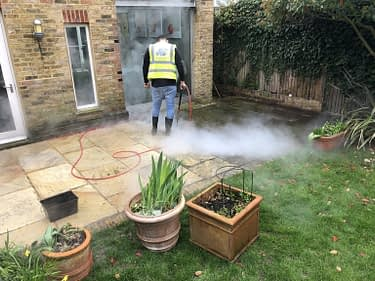 Patio steam cleaning, indian sandstone