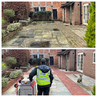 Doff cleaning for York stone patio