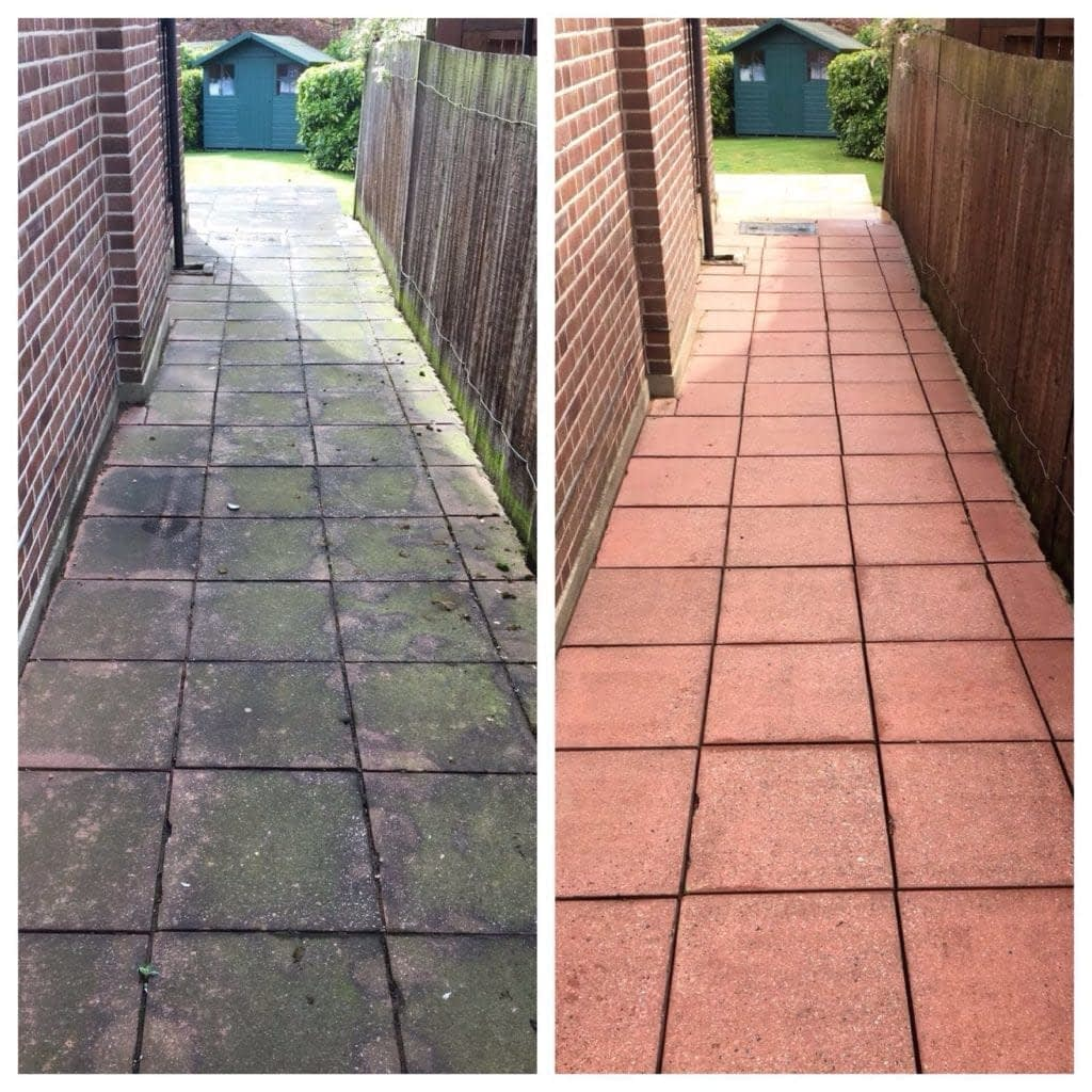 before and after pressure washing red concrete slabs