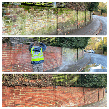 Brick cleaning before and after picture