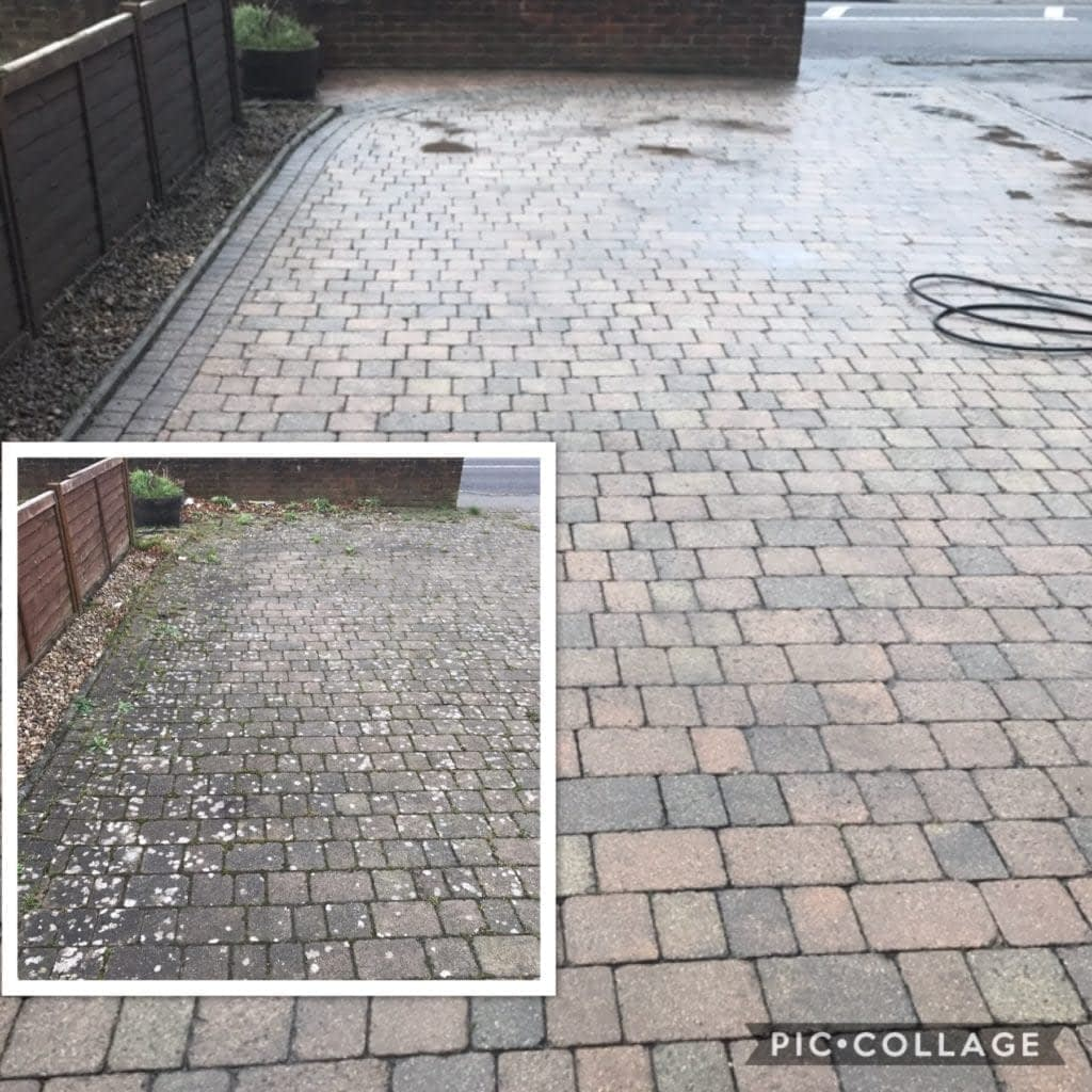 driveway cleaning before and after pincher