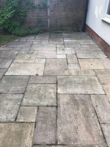 Patio black spot removal service on Indian sand stone in Bracknell England