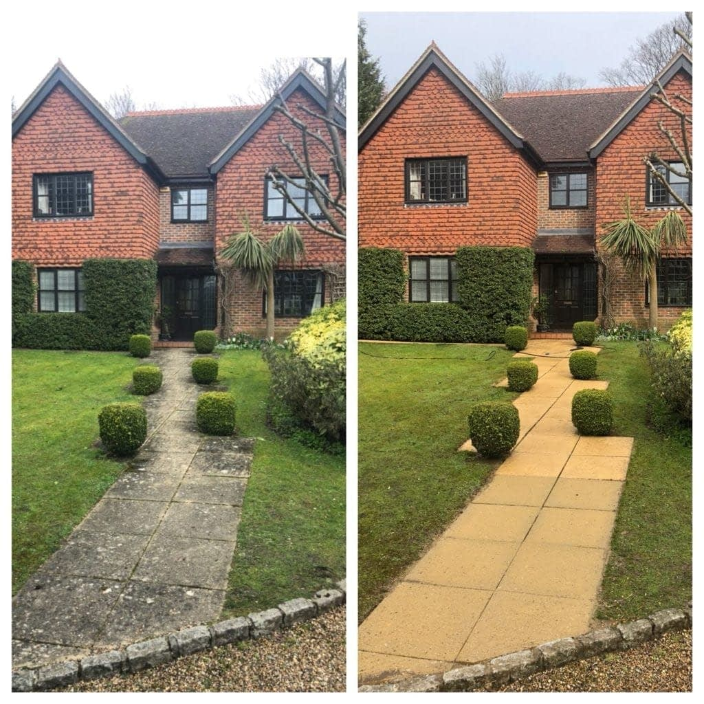 pressure cleaning driveway on house in richmond on thames surrey, uk