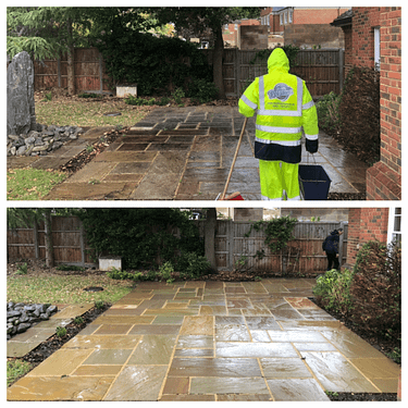 patio cleaning, Indian sandstone