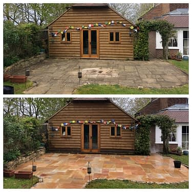 INDIAN SANDSTONE PATIO BEFORE & AFTER, CLEANED BY FEEL THE PRESSURE UK IN LIGHTWATER SURREY