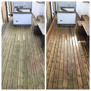 pressure cleaned Decking on penthouse flat in London before and after