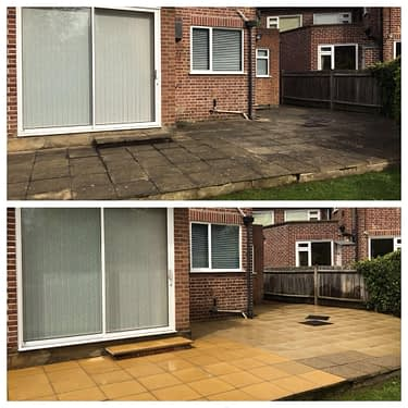 Pressure Cleaning Patio before and after in Surrey just outside London