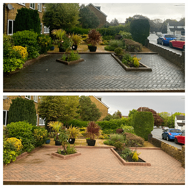 block paving front patio cleaning
