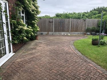 block paving patio black spot infestation before removal