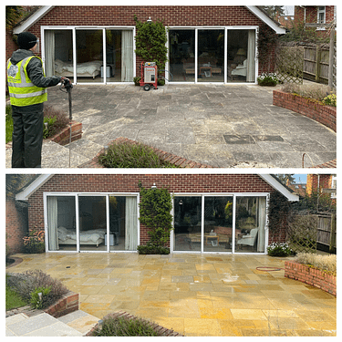 Patio cleaning natural stone