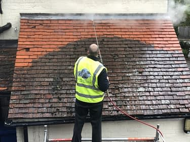 cleaning the roof safely using a thermatec / doff superheated steam cleaner
