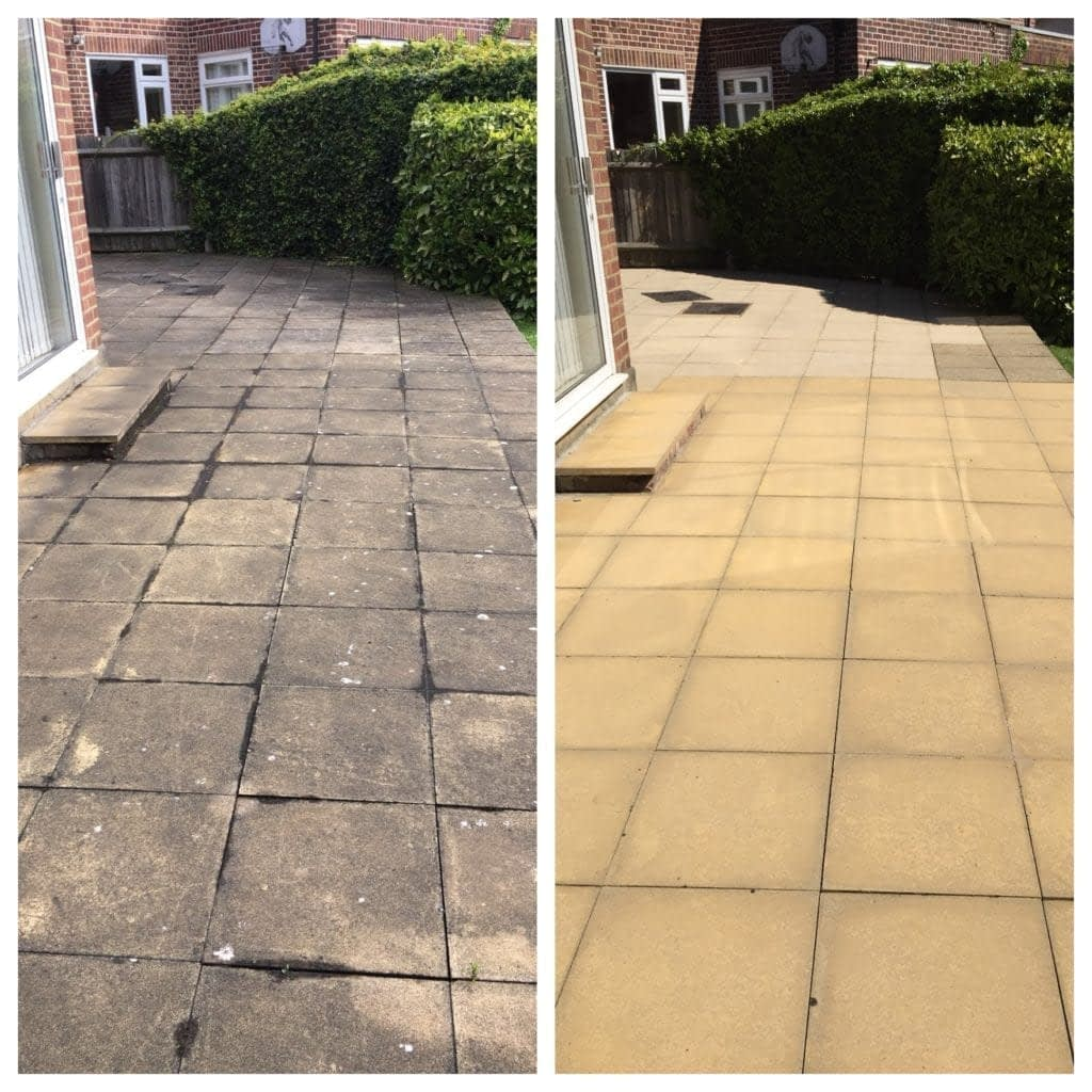 before and after yellow concrete slabs pressure washing ...