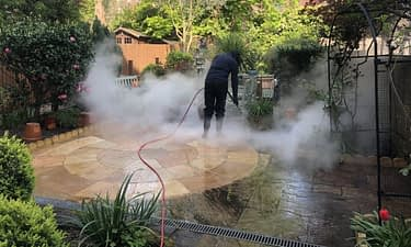 Patio steam cleaning Indian sandstone in London NW3