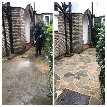 Patio steam cleaning and high-pressure patio cleaning