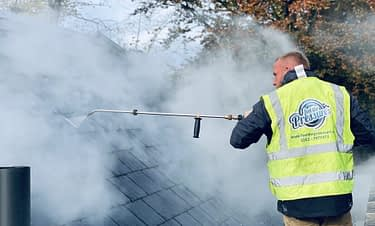 roof cleaning using the Therma-tech super heated cleaning system