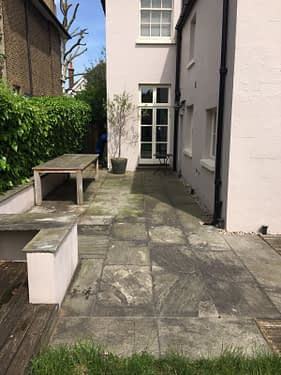 Patio steam cleaning, how to get your gray sandstone looking amazing again.